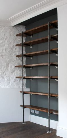 Sebastian Industrial Vintage Wooden Shelves