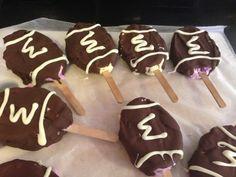 Purple and gold ice cream chocolate football bars