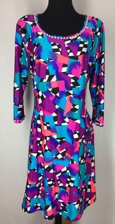Womens Large Handmade Polyester Long Sleeve Dress Geometric Pink Blue Pearls MOD  | eBay