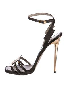Versace Collection Satin Studded Sandals