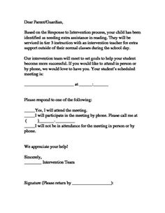 Response To Intervention Parent Letters  Parents And Students