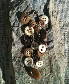 Handmade Vintage Button Brass Charm Bracelet by MetalsByMelissa, $25.00 https://www.etsy.com/listing/120294180/handmade-vintage-button-brass-charm #Button #CharmBracelet