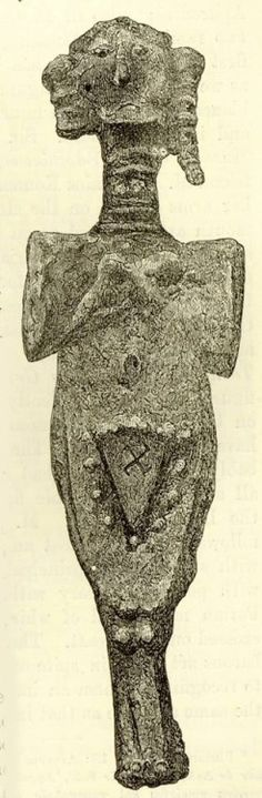 The numinous vulva again, inscribed with svastika, on a lead figurine found 23 feet below the surface at Troy. Same source as post below. Hands touching breasts, another sign with roots deep in the neolithic, that persisted through all the patriarchalizations, wars, and empires, up to the christian era. - source