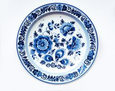 Vintage Plate, Delft blue, cobalt blue and white ceramic, Handpainted wall hanging plate on Etsy, $19.46