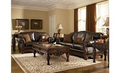 Mixing fabric and leather furniture creates great North shore leather living room set
