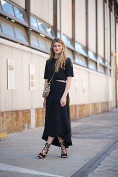 Simple elegant black with lace-up heels.