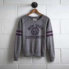 Tailgate NYU Crewneck Sweatshirt ($60) ❤ liked on Polyvore featuring tops, hoodies, sweatshirts, grey, graphic sweatshirts, graphic crew neck sweatshirts, grey crew sweatshirt, stripe top and crewneck sweatshirt