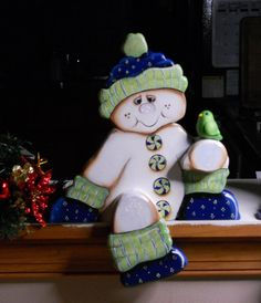 Christmas Seasonal woodcraft snowman mantle by WOODLANDCRITTERS