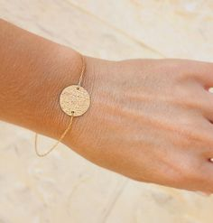 Delicate Gold Bracelet - Small Disc Gold Bracelet - 14k gold filled - brushed gold delicate bracelet, bracelet gold