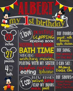 Mickey Mouse First Birthday Chalkboard Sign Printable by wbanner