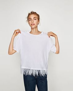 Image 2 of T-SHIRT WITH FEATHERS from Zara