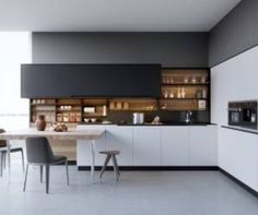 Black white wood kitchens ideas inspiration and yellow kitchen design beautiful designs . gloss black and white kitchen Small Modern Kitchens, White Wood Kitchens, Modern Kitchen Design, Interior Design Kitchen, Stylish Kitchen, Modern Design, Modern Bar, Modern Decor, Modern Kitchen Cabinets