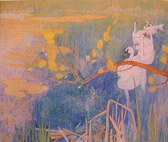 Theo van Hoytema, Swans on a pond, 1898