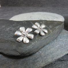 Sterling Silver, Flower, Earrings, Statement, Floral, Thailand, Silver, 925 by BonfireStudio on Etsy