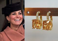 Kate Middleton Citrine Square Gold Crystal Earrings by tudorshoppe Kate Middleton Jewelry, Kate Middleton Style, Royal Jewelry, Bead Jewellery, Kate And Meghan, Gold Earrings Designs, Princess Kate, Birthstone Jewelry, Duchess Kate