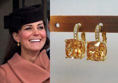 Kate Middleton Citrine Square Gold Crystal Earrings by tudorshoppe, $30.00
