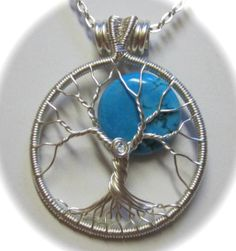 Turquoise and Silver Full Moon Tree of Life by Mariesinspiredwire, $35.00