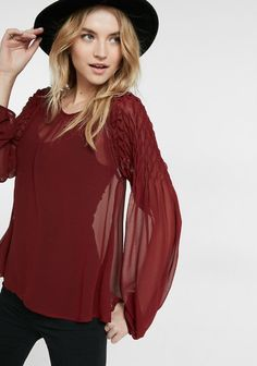 666a9a098ae Smocked Shoulder Sheer Blouse in chianti  79.90 Red Blouses