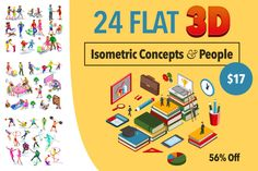24 Flat 3D Isometric Concepts and People - only $17!