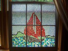 Color Glass Beads glued on Old Window Window Pane Crafts, Window Screen Crafts, Window Art, Window Frames, Window Ideas, Mosaic Tiles, Mosaics, Sea Glass, Glass Art