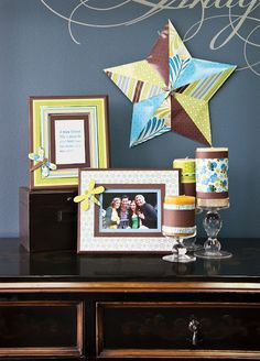 Love this tablescape -- perfect for an entry! @DCWV Inc. Green Tea Paper Stack Decor