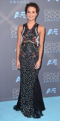 2016 Critics' Choice Awards:ALICIA VIKANDER The actress dressed in an embellished gown.