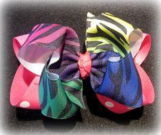 Rainbow Zebra Double Layered Hair Bow by MyBellaBellaBowtique, $5.75