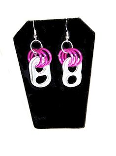 Recycled Pop Can Tab Earrings with Colorful Aluminum Rings