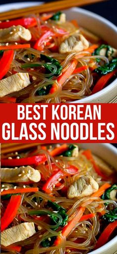 If you've never tried Korean glass noodles, now's the time! This sweet potato noodle recipe, called Japchae, is filled with chicken, vegetables Yummy Pasta Recipes, Best Chicken Recipes, Heart Healthy Recipes, Healthy Dishes, Whole Food Recipes, Dinner Recipes, Weeknight Recipes, Korean Glass Noodles, Asian Noodles