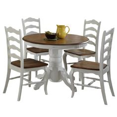 Home Styles 5518308 The French Countryside 5Piece Dining Set Oak and Rubbed White >>> Learn more by visiting the image link.Note:It is affiliate link to Amazon.