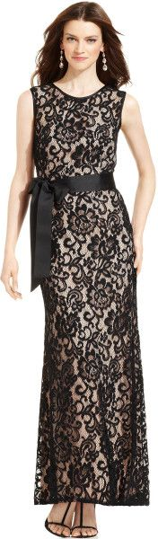Betsy and adam sleeveless belted lace dress