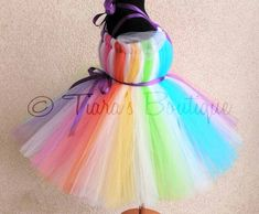 """Sewn Rainbow Tutu Dress - Candyland Dreams - up to size 24 months & 20"""" long - Perfect for Birthdays and Halloween Costumes - Dress Only"""