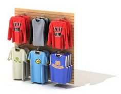 Clothing rack and clothes 3D Model and 3D Design
