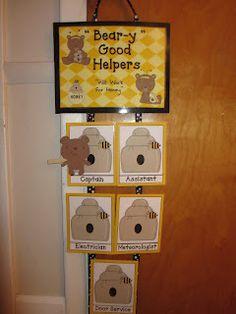 Beary Good Helpers (Bear Theme Classroom) - New Deko Sites Bear Theme Preschool, Preschool Room Decor, Kindergarten Classroom Decor, Preschool Themes, Classroom Themes, Preschool Decorations, Classroom Helpers, Classroom Organisation, Classroom Management