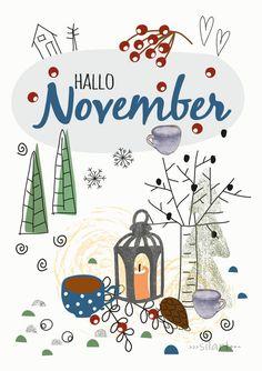 Hallo November Bullet Journal And Diary, Bullet Journal Month, Kids Calendar, 2021 Calendar, November Kalender, Hallo November, Happy Greetings, Autumn Illustration, Printable Calendar Template
