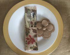Items similar to Fall Burlap Silverware Holders Leaves & Flowers, Set of 4 on Etsy