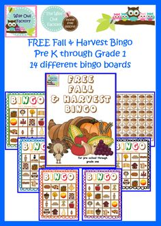 Blog post at BookaDay : Free Fall and Harvest Bingo Printable Free printable:Fall and Harvest Bingo game with fourteen different game boards, draw cards, and aco[..]