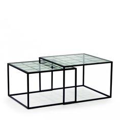 Table basse carr e ou rectangulaire 2 plateaux verre pieds - Table basse verre et metal ...