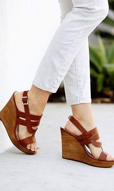 Classic tan leather platform wedge sandals