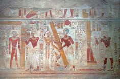 A scene on the west wall of the Osiris Hall at Abydos shows the raising of the Djed pillar
