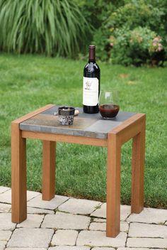 Slate & Eucalyptus Side Table | Gardeners.com