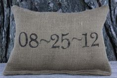 might have to make one of these w/ our date on it.  Personalized Pillow - cute bridal shower gift too