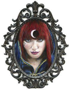 "Under the watchful gaze ""La petite lune"" acrylic on gesso board, 2012 5 x 7 inches, 12.7 x 17.7 cm"