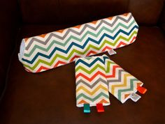 Drool Pads & Teething Bib SET with chevron by HisandHersHomemade