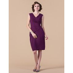 Comes in a ton of colors -- Sheath/Column V-neck Knee-length Chiffon Mother of the Bride Dress  – USD $ 149.99