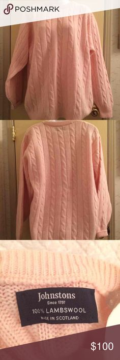 (XXL) Johnstons of Elgin Sweater Made in Scotland.  This is a $200 sweater so no low offers please!   *Brand: Johnstons of Elgin  *Color: Light Pink *Condition: Brand new without tags. Never worn. *Material: 100% lambswool *Size: XXL *Bust Size: Approximately 42 inches. *Length: Approximately 29 inches long.  ♥ I am from a smoke free home.  ♥ I have cats and a dog. I always make sure my clothing is fur free, but sometimes there could be a stray hair or two left.  Johnstons of Elgin Sweaters…