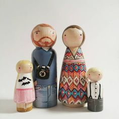"""GET PEGGED! This listing is for a completely custom, personalized family of 4 using (2) big 3 1/2 pegs and (2) smaller pegs (sizes 2 /38"""" and under) It"""