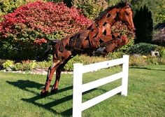 Metal Horse Art - Jumping Horse - Handcrafted by a Michigan Artist - Available through Woodland Creek Furniture