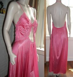 Lily of France Rosa Puleo Szule Backless Long Large Keyhole Nightgown Negligee #LilyofFrance #Gowns
