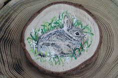 Bunny Magnet Handpainted on Wood Slice  by ArtfullyReDesigned, $16.50